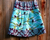 SpArRoWs AnD dAmAsK iN pLuM, Joel Dewberry, Aviary 2, Plum and Blue, Knee length, custom, A-line Skirt size women's 2-22