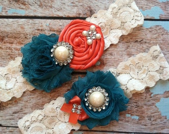 Wedding garter(((coral and teal ))wedding garters/ bridal  garter/  lace garter / toss garter / vintage lace garter
