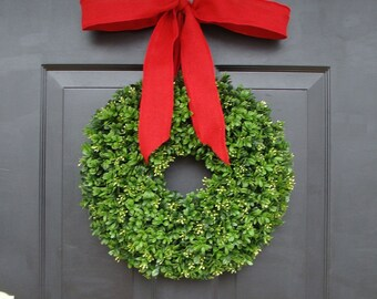 Custom Artificial Boxwood Christmas Wreath with Designer Ribbon- Holiday Decor- Christmas Decoration- Christmas Gift