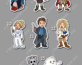 Doctor Who Hand Cut Glossy Stickers