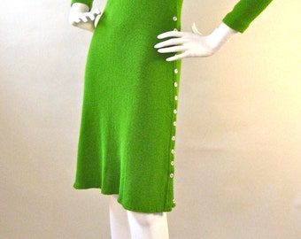 Stunning Vintage 1970s Lime Green Knit Mid-Length Sweater Dress with Buttoned Side Slit