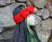Knitted Headband with big bow True Red. Sale.