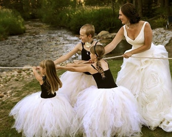 Champagne Wishes Couture Tulle Skirt - Sewn Tutu - ivory, white, champagne and gold blend - for flower girls, portraits, formal events
