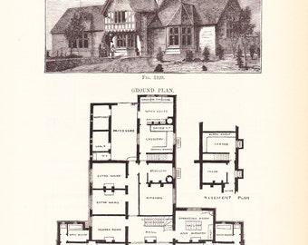 1885 Architecture Print - House Blueprint - Vintage Antique Art Illustration Interior Design Great for Framing 100 Years Old