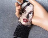 Marilyn Monroe in Black Peyote Cuff Bracelet