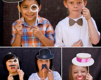 Old Time Victorian Ladies & Gentlemen Printable PHOTO BOOTH PROPS - Editable Text  >> Instant Download | Paper and Cake