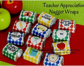 Teacher Appreciation Candy Wraps, Hershey Nugget Wraps, Teacher Appreciation Gift Ideas, School Themed Candy Wrappers