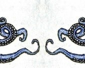 Small  Pair Octopus Iron on Patch in Light Blue
