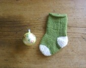 Small Green and White Wool Striped Christmas Stocking, Knitted Christmas Ornament