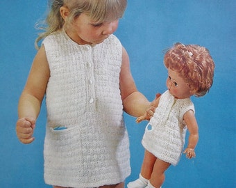 """Knitting Pattern Vintage 60s Girl's Dress with matching Dolls Dress for a 14"""" doll - 1960s original patterns Emu No. 6431 UK doll's clothes"""