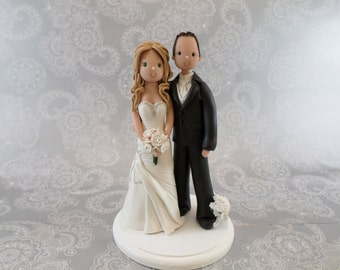 Bride and Groom With a Biting Dog Custom Wedding Cake Topper