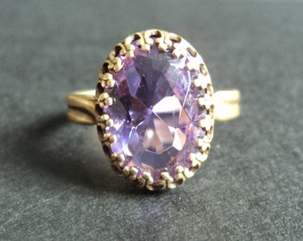 Nemesia - Amethyst Purple Crystal and Brass non tarnish adjustable ring