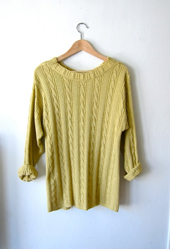 Slouchy Cable Knit Yellow 90s Sweater by SecretShopVintage