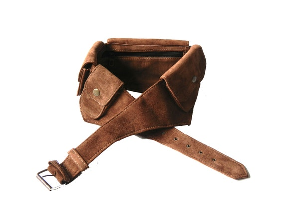 leather utility belt brown suede 5 pockets travel burning