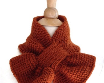brown knit keyhole scarf, brown keyhole scarf, rust keyhole scarf, brown knit scarf, knit scarflette, brown knit ascot, brown ascot scarf