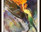 Vintage MERMAID Motor Boating Magazine Cover circa 1920- Giclee Fine Art Print