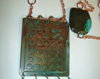 Turquoise slab Long Necklace-Copper Etched  pendant-handmade metalsmith etching
