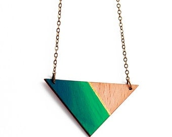 Geometric, triangle wooden necklace - natural wood, gold strip, blue green ombre - minimalis, modern jewelry
