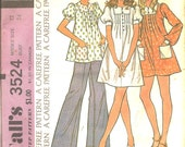 1970s Sewing Pattern - Vintage 70s Smock - Dress - Top - High Waist Pants - Puff Sleeves -  Hipster Style - McCalls 3524 - Bust 34