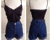 80s/90s hi-waisted, dark wash, denim, jean shorts, cut offs with longhorn detail and V-shape piping. Today Size 30
