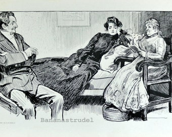 Gibson Girl - You're Not the One I Wish to Marry - Humorous 1901 Antique Charles Dana Gibson Print