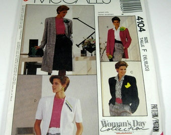 Womens Jacket Pattern Size 16,18,20, McCalls 4104 Uncut Pattern