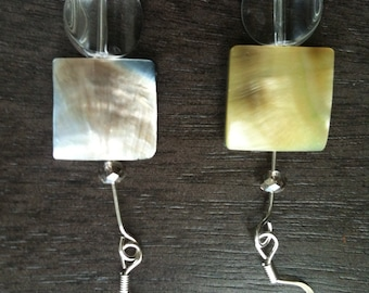 Mother of Pearl Square Tile Bead n Glass Bead n Diamondesk Beads on Silver Findings
