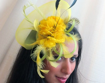 Yellow fascinator lemon fascinator hat  apple green fascinator with yellow/black feathers GOING WILD
