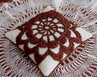 Pincushion Linen Crochet Flower Motif Chocolate Brown Taupe