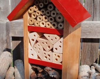 Handmade Bug House - All Natural Bug Box - Insect Habitat - Persnickety Bug House - Rustic Red Garden Decor