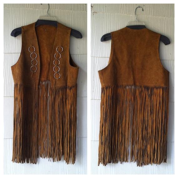 Vintage 70s Golden Suede Leather Fringe Hippie Vest Brass