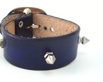 Punk Cuff - Blue Leather Cuff w/t Spikes