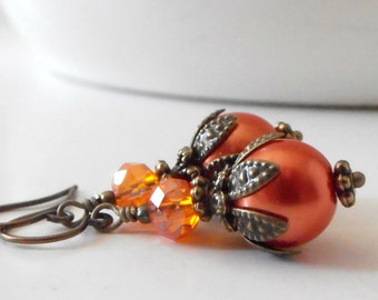 Orange Bridesmaid Earrings Orange Pearl Earrings Rustic Wedding Jewelry Fall Weddings Bright Orange Jewelry Handmade Bridesmaid Jewelry