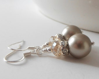 Taupe Beaded Bridesmaid Earrings, Swarovski Pearl Dangles, Beige Wedding Jewelry Sets, Bridal Party Gift, Pierced or Clip On, Handmade