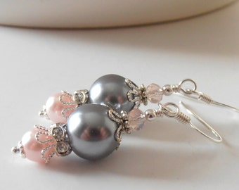 Bridesmaids Jewelry, Gray and Pink Pearl Earrings, Beaded Dangle Earrings, Pink and Grey Wedding Jewelry, Bridesmaid Gifts, Bridal Jewelry