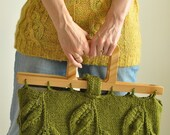 Designer hand knit leafy handbag large purse with wooden handles - eco-fashion - Spring Walk - LAST ONE AVAILABLE