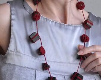 Fiber Jewelry Wearable Art OOAK Crochet Necklace Designer Neckpiece Crochet Neckwear Freeform Long - Gift Obsession - Ready To Ship