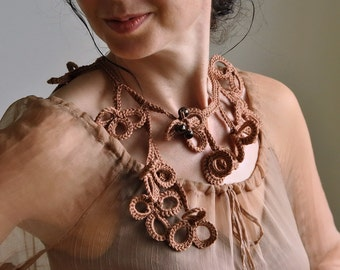 Fiber art jewelry crochet necklace clover shamrock lucky neckpiece collar lariat wearable art cinnamon brown OOAK Ready To Ship - Get Lucky