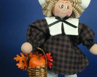 Pilgrim Girl Clothespin Doll