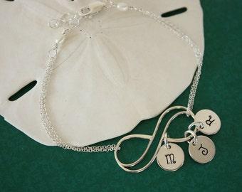 Infinity Initial Bracelet Custom, Initial Charms, Infinite Jewelry,  Sterling Silver, Mother Bracelet, Monogram, Infinite Friendship
