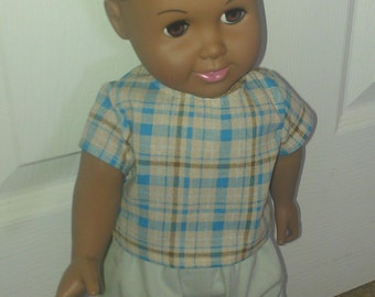 18inch Doll Khaki and Brown Outfit