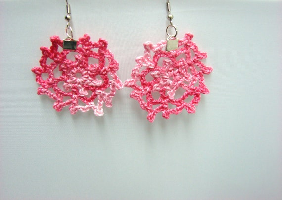 Pink Earrings Lacey Soft Shades of Pink Starburst Crochet Jewelry, READY TO SHIP