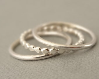 Sterling Silver Stacking Rings Flat Bead Wire Ring and 2 Smooth Rings