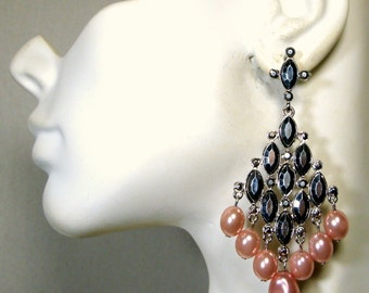 SALE, Glam Pink Pearl Dangle Earrings, Shiny Silver Jeweled Chandeliers, Statement Sexy Posts, 1992, Unused Stock