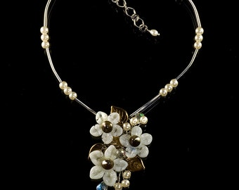 Ivory & Pearl Bouquet Pendant, Handmade Glass Jewelry