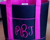 MONOGRAM  Personalize your Bible Tote with Monogram. Single or 3-initial options. Choose your font and thread color.