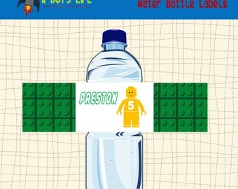 LEGO-Inspired  Water Bottle Labels Printable PDF