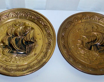 Pair of Brass Nautical Textured Trays
