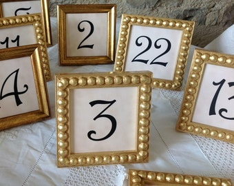25 Gold Boules 3x3 Inch Framed Table Numbers for Weddings and Events