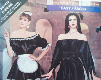 Misses' French Maid Costume Butterick 5800 Sewing Pattern Lady Vampire Elvira Dress Easy to Sew Halloween Costume Size 6 - 18 UNCUT